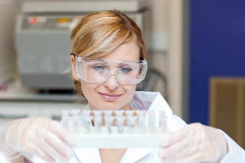 集中的女性藏品抽样科学家 免版税库存照片