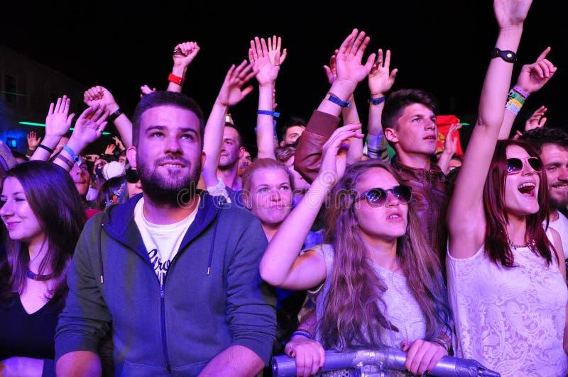 集会的人人群在音乐会期间的 库存照片