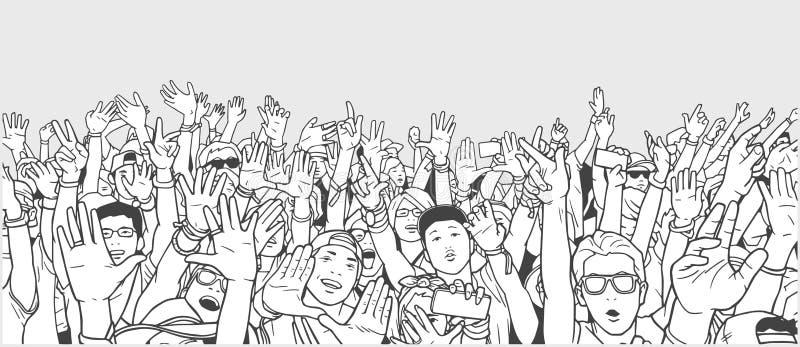 集会的人群的例证用被举的手 向量例证