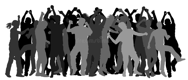 集会舞蹈家人、女孩和男孩剪影 好心情的少年 乐趣和娱乐 皇族释放例证
