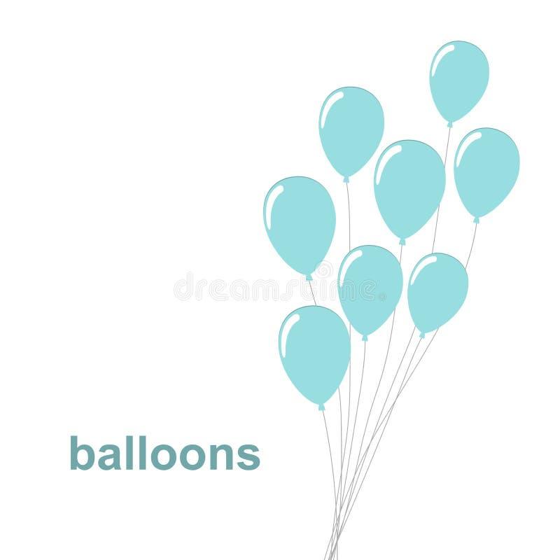 集会蓝色气球在白色背景的被隔绝的象 假日和生日聚会的装饰 向量例证