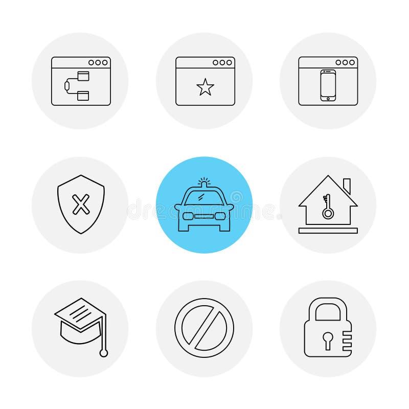 集会,汽车,锁, sheild,窗口, ui,布局,网 向量例证