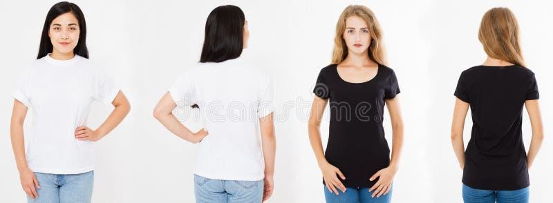 集合、拼贴画亚裔韩国女人和白种人妇女白色和黑T恤杉的,前面后面看法T恤杉 免版税库存图片