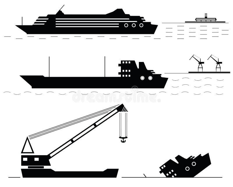 集合。船。黑色。 皇族释放例证