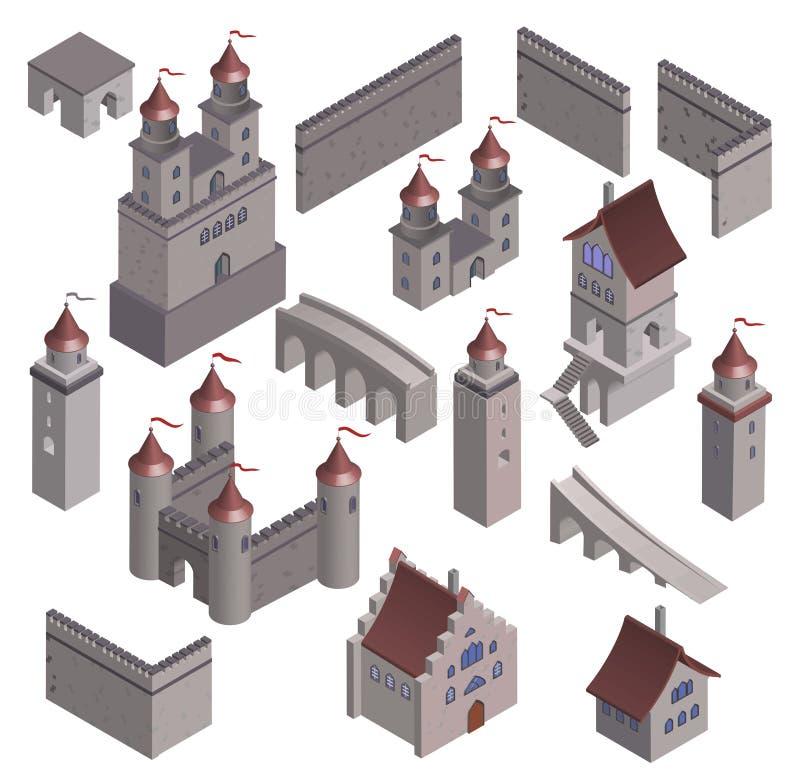 集合中世纪堡垒堡垒 皇族释放例证