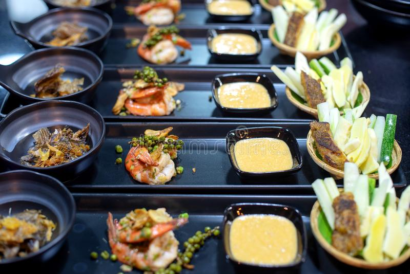 集合为在晚餐个体的泰国食物做准备 免版税库存照片