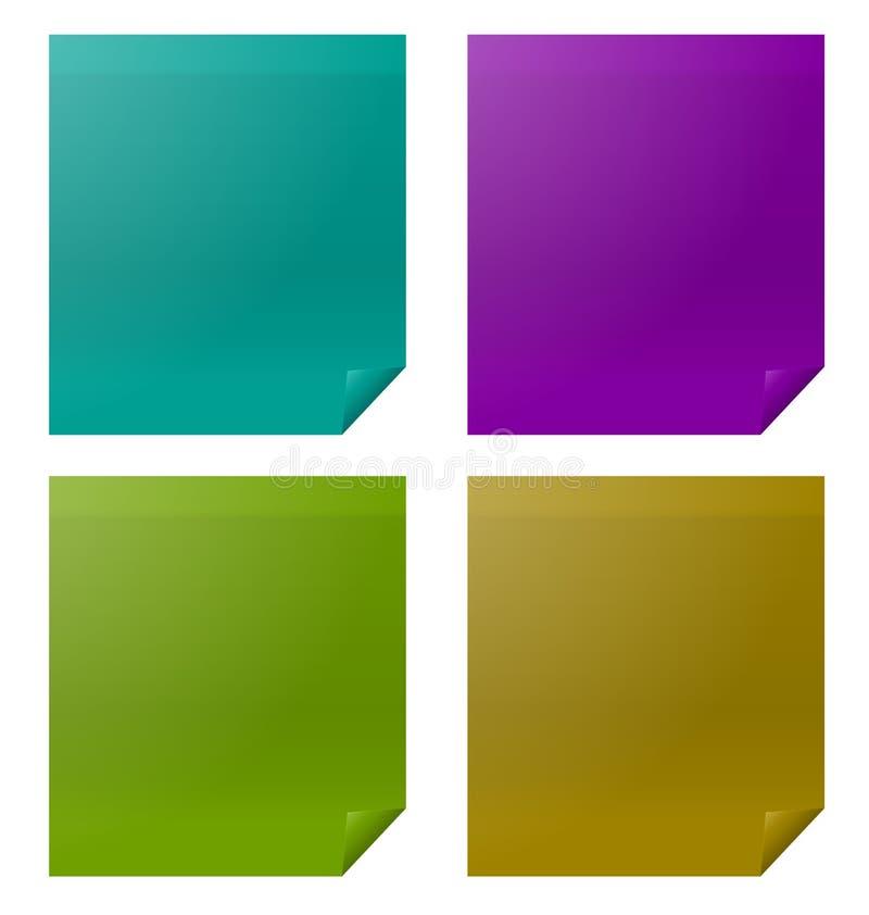 集合五颜六色的四个纸贴纸 向量例证