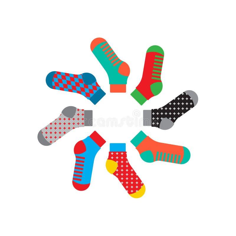 集合五颜六色的袜子 向量例证