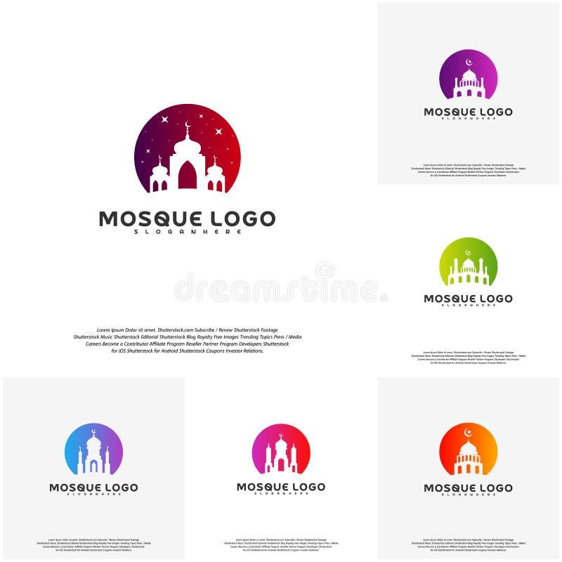 集合伊斯兰教的商标设计传染媒介 清真寺商标模板 穆斯林学会商标模板 向量例证