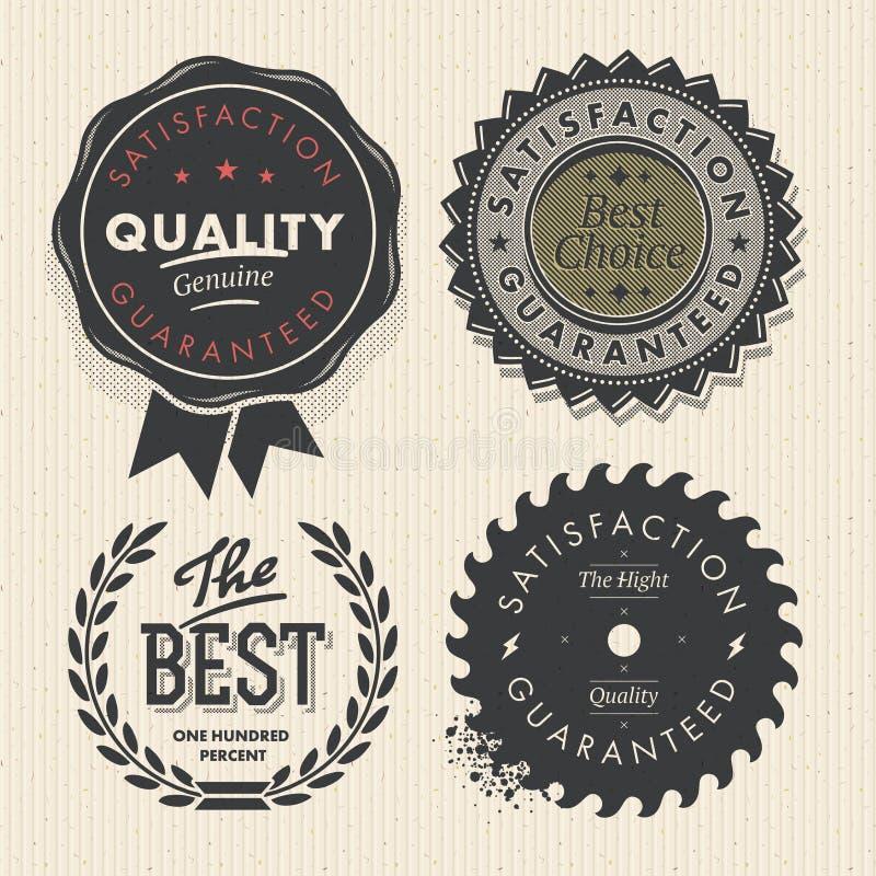 葡萄酒集合优质质量和保证标签 库存例证