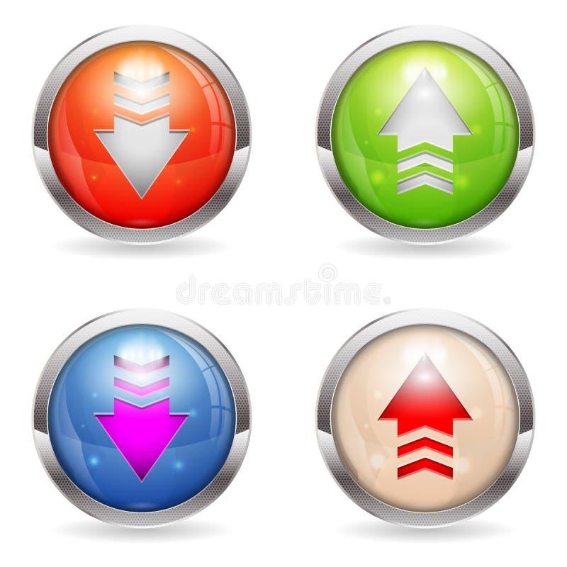 集合光滑的下载和加载按钮 向量例证