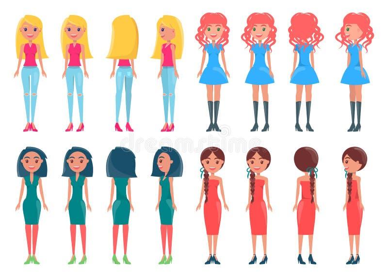 集合动画女孩偶然和典雅的成套装备 向量例证