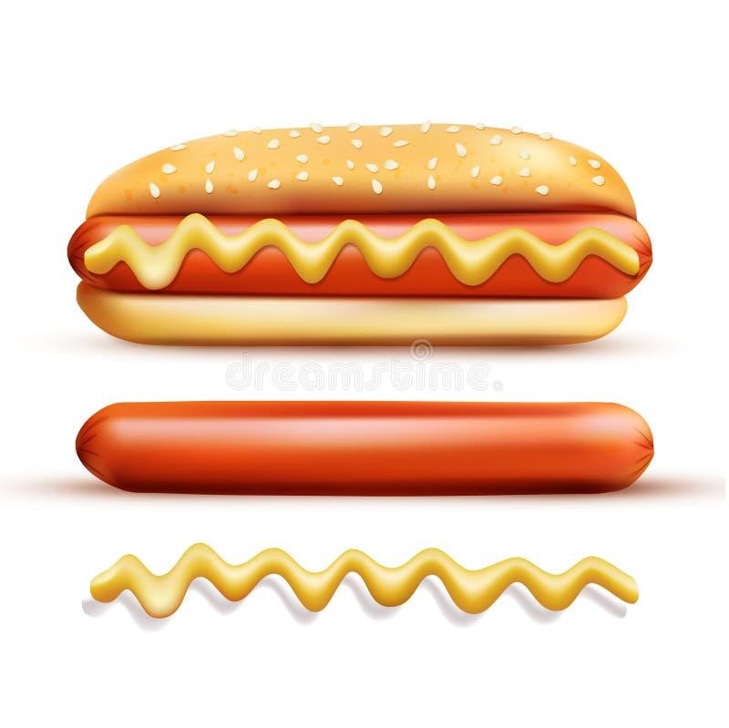 集合包括的元素:小圆面包,芥末,香肠 向量例证