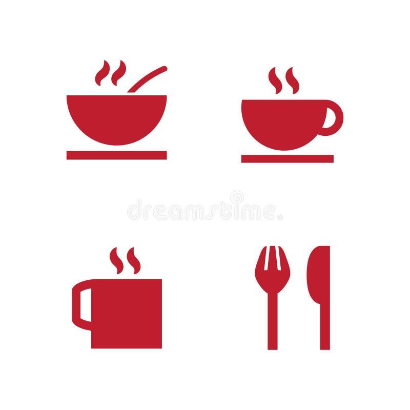 集合包括象当餐馆标志、餐馆地点、盘和食物 向量例证