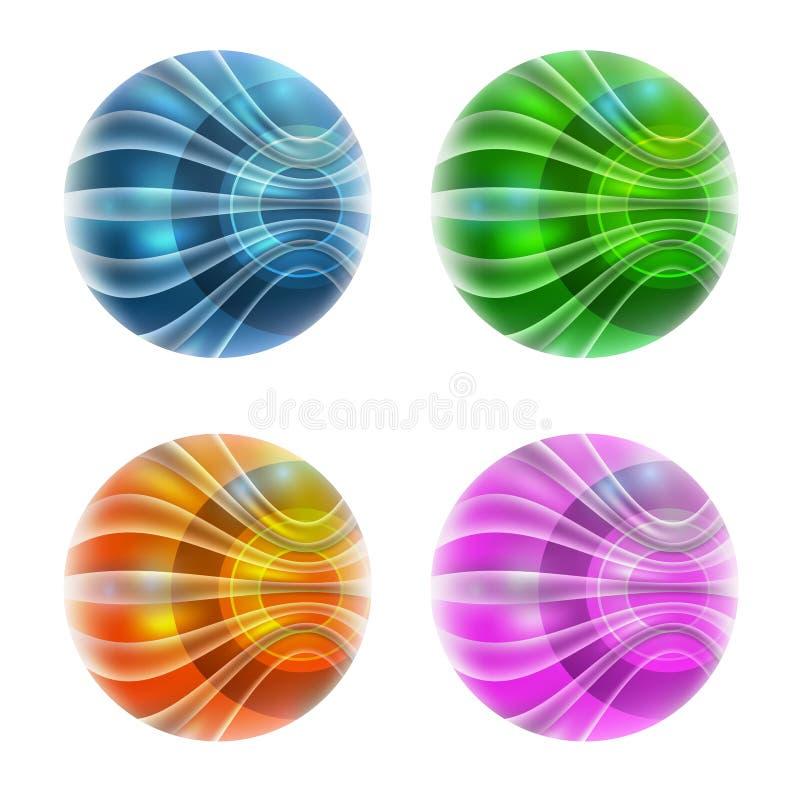 集合四抽象球 库存例证