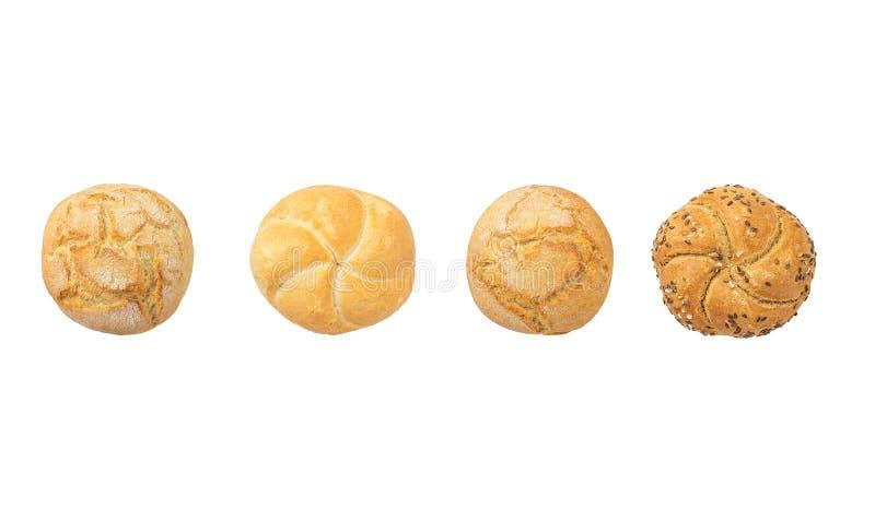 集合圆的全麦面包 用不同的种子的新鲜的小圆面包 免版税库存照片