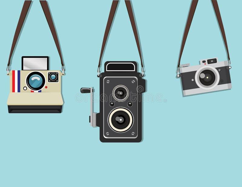 集合垂悬的老照相机 向量例证