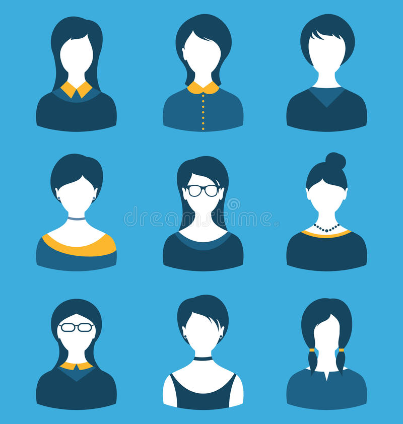 集合女性角色,前面画象,隔绝在蓝色 向量例证