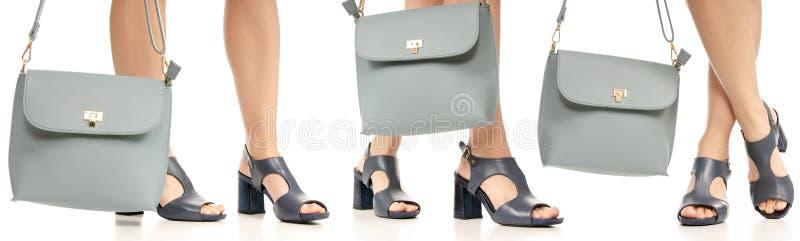 集合妇女腿脚黑身穿蓝服鞋子蓝色钱包袋子 免版税图库摄影