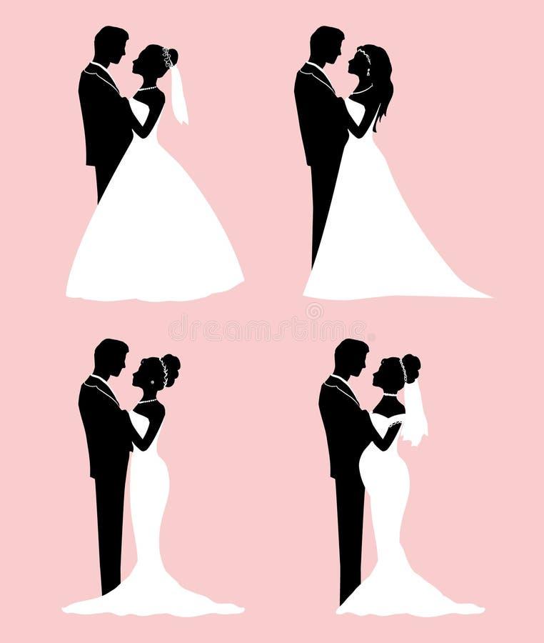 集合平的剪影新娘和新郎-婚礼传染媒介 库存例证