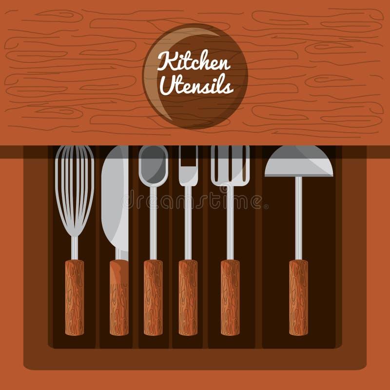 集合平的厨房器物 皇族释放例证