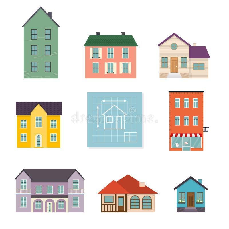 集合平的房子象 家庭在白色backgr隔绝的房子象 向量例证
