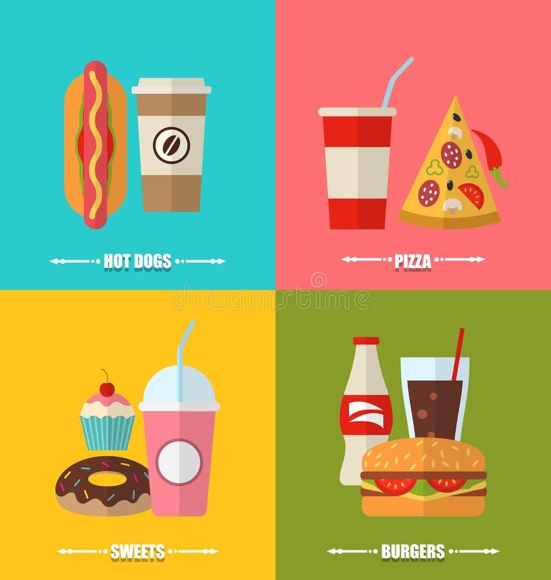 集合快餐和饮料,平五颜六色简单 向量例证