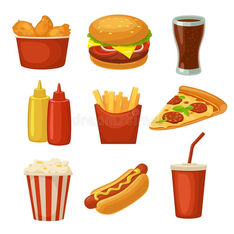 集合快餐象 杯可乐、芯片、面卷饼、汉堡包、薄饼炸鸡腿标志快餐交付的或外带的packag 向量例证