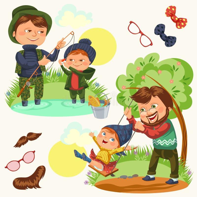 集合愉快的父亲节贺卡,与孩子的爸爸乐趣,小孩的家庭度假,假日庆祝父母  库存例证