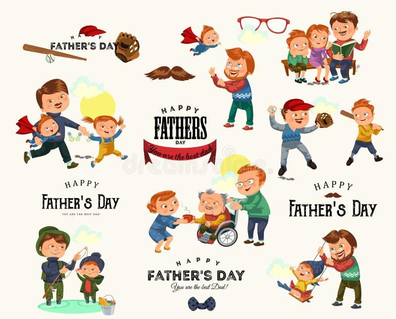 集合愉快的父亲节贺卡,与孩子的爸爸乐趣,小孩的家庭度假,爸爸爱假日父母  皇族释放例证