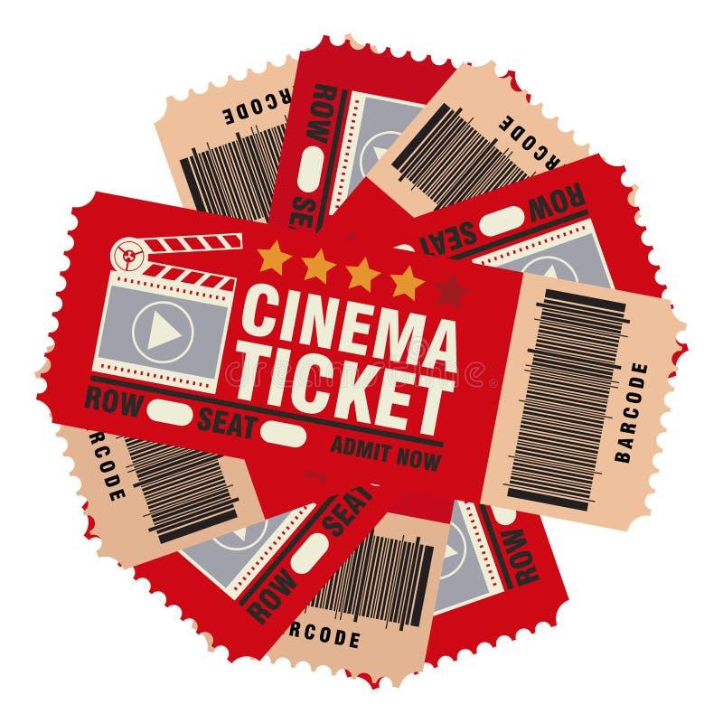 集合戏院票,跳观看电影,现实神色 库存例证
