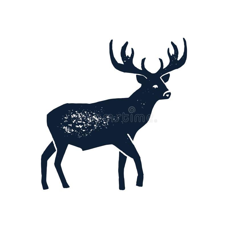 集合手凹道鹿剪影难看的东西 在白色背景隔绝的一只野生动物雄鹿的传染媒介例证 库存例证