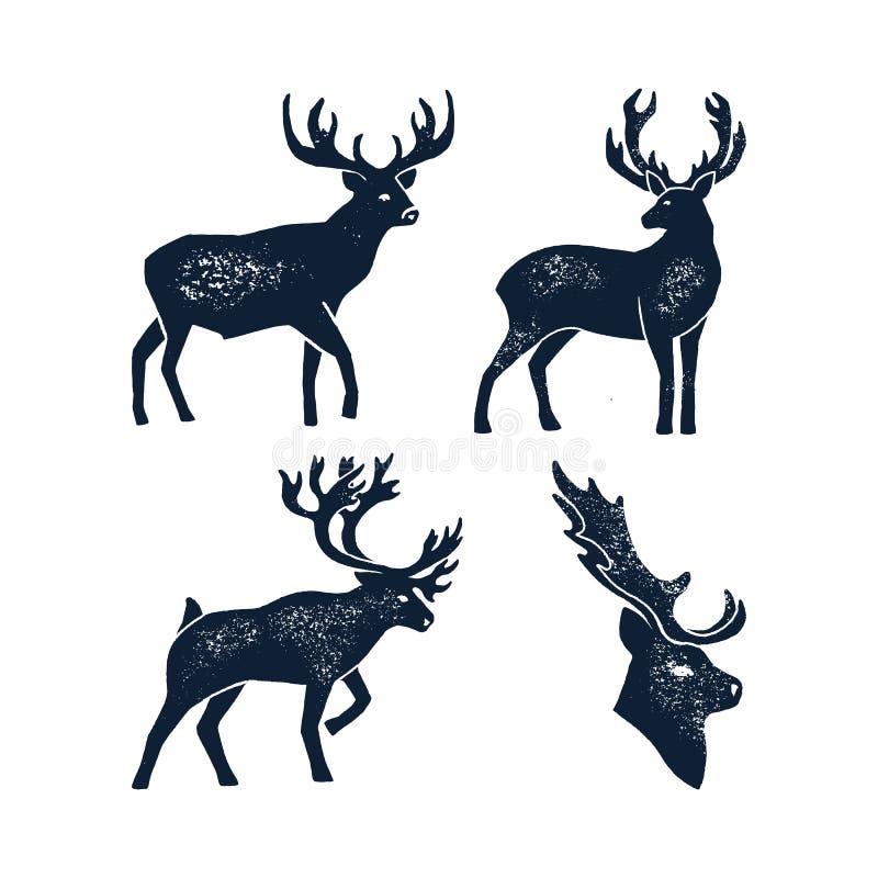 集合手凹道鹿剪影难看的东西 在白色背景隔绝的一只野生动物雄鹿的传染媒介例证 向量例证