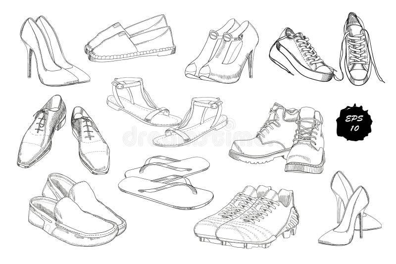 集合手拉的图表男人和妇女鞋类,鞋子 偶然和炫耀样式,鞋子的侦探所有季节 免版税库存图片
