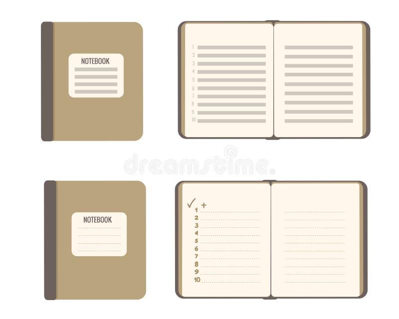 集合抽象笔记本我的计划 在白色隔绝的传染媒介平的例证 皇族释放例证