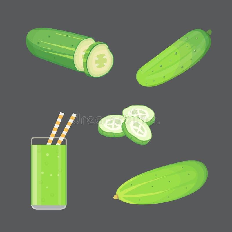 集合新鲜的黄瓜,切和传染媒介例证 向量例证