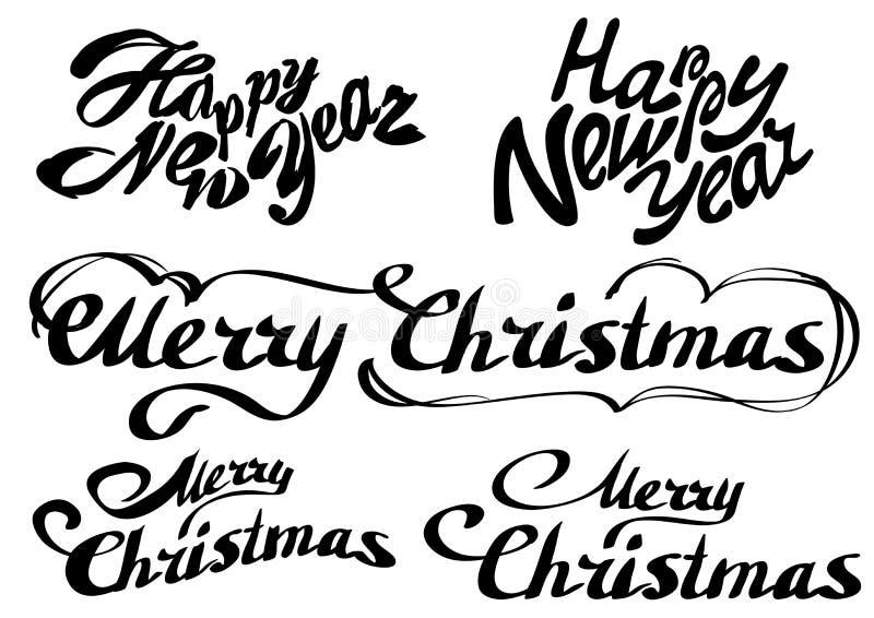 集合新年好文本 快活的圣诞节 向量例证