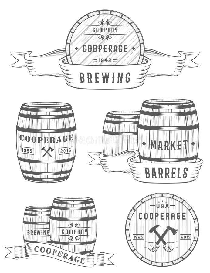 集合木酒桶徽章和制桶工场商标 库存例证