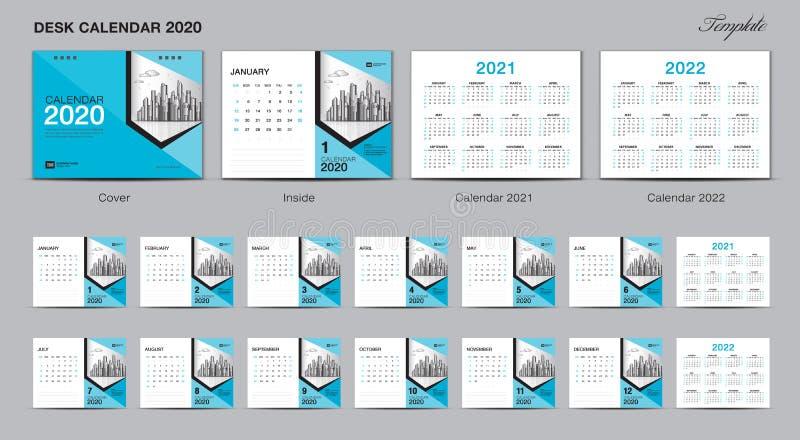 集合桌面日历2020年模板设计传染媒介,日历2020年2021年2022年,封面设计,套12个月,星期天星期开始 库存例证