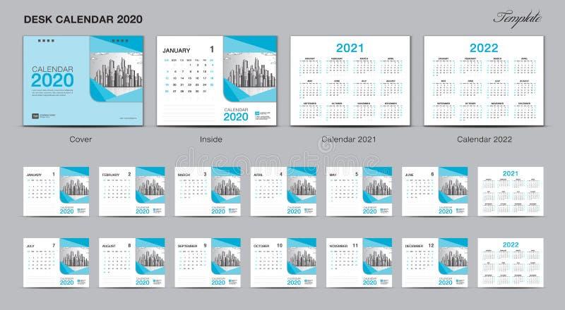 集合桌面日历2020年模板设计传染媒介,日历2020年2021年2022年,封面设计,套12个月,星期天星期开始 皇族释放例证