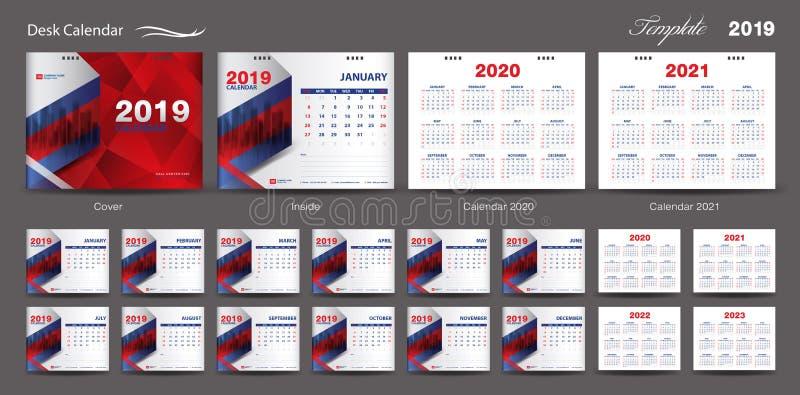集合桌面日历2019年模板设计传染媒介,日历2020,2021,2022年2023年,封面设计,套12个月,星期天星期开始 库存例证