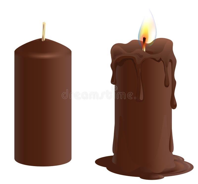 集合棕色巧克力蜡烛 蜡烛烧伤和融解 库存例证