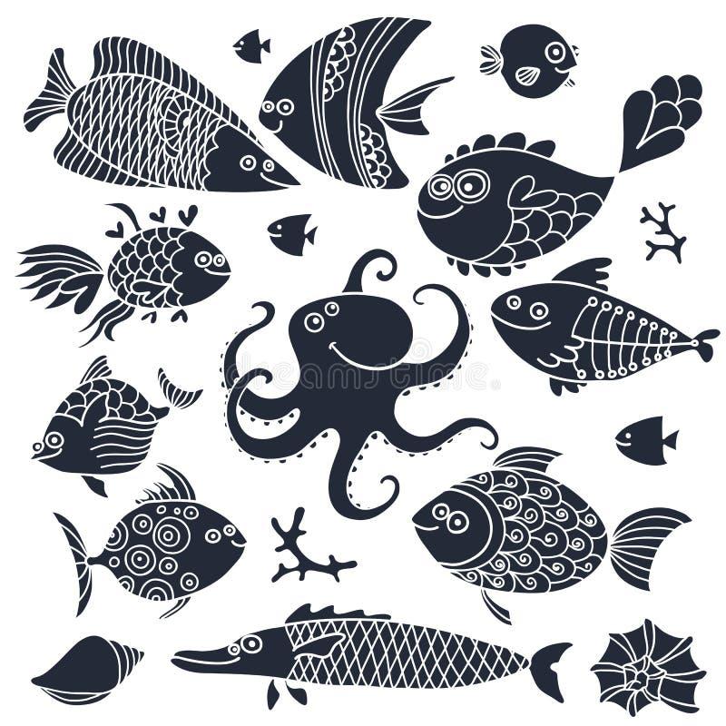 集合版本记录逗人喜爱的鱼和章鱼设计的 库存例证
