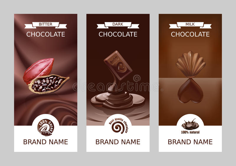 集合现实传染媒介垂直的巧克力横幅 库存例证
