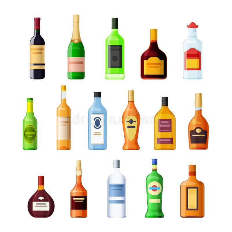 集合现实模板,布局,空的玻璃瓶酒精饮料 库存例证