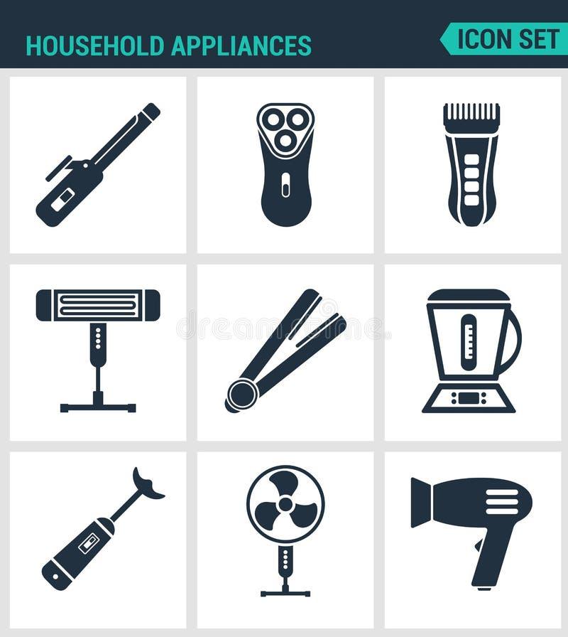 集合现代象 家用电器吹风器,烫发钳,电动剃须刀,刮胡子刀,加热器,搅拌器,食物 向量例证