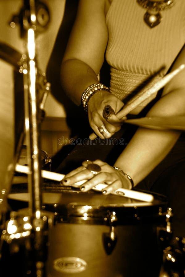 集合的女性鼓手 库存照片