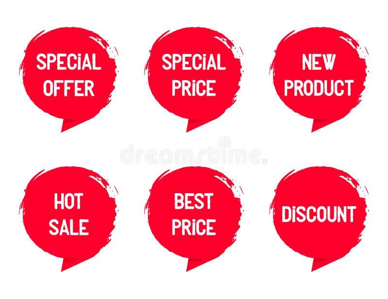 集合盖印与词待售,特价优待,新产品 向量例证