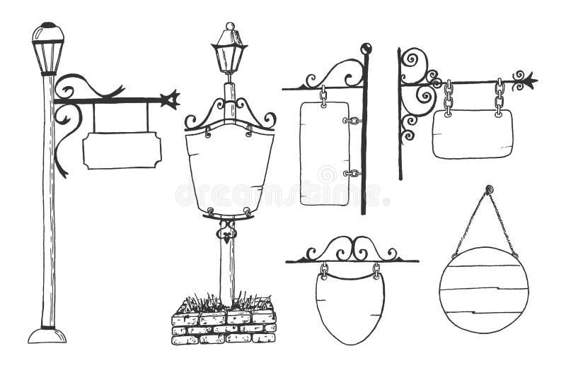 集合空白的标志板,街道灯笼 库存例证