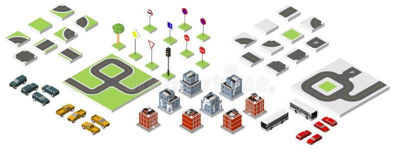集合等量路和传染媒介汽车,管理共同的公路交通 导航在白色背景eps 10隔绝的例证 向量例证